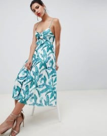 ASOS DESIGN Palm Print Knot Front Pleated Midi Multicolored Dress