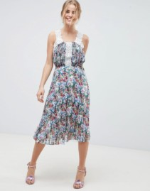 ASOS DESIGN Pleated Lace Trims Midi Floral Printed Dress