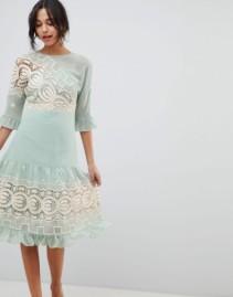 ASOS DESIGN Premium Crochet Insert Midi Mint Green Dress