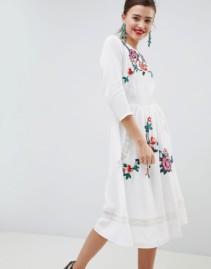 ASOS DESIGN Premium Lace Embroiderd Open Back Midi Cream Dress