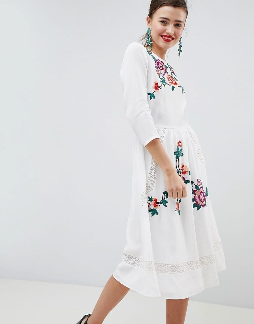 a9cc0efae7 ASOS DESIGN Premium Lace Embroiderd Open Back Midi Cream Dress - We ...