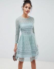 ASOS DESIGN Premium Lace Mini Skater Mint Green Dress