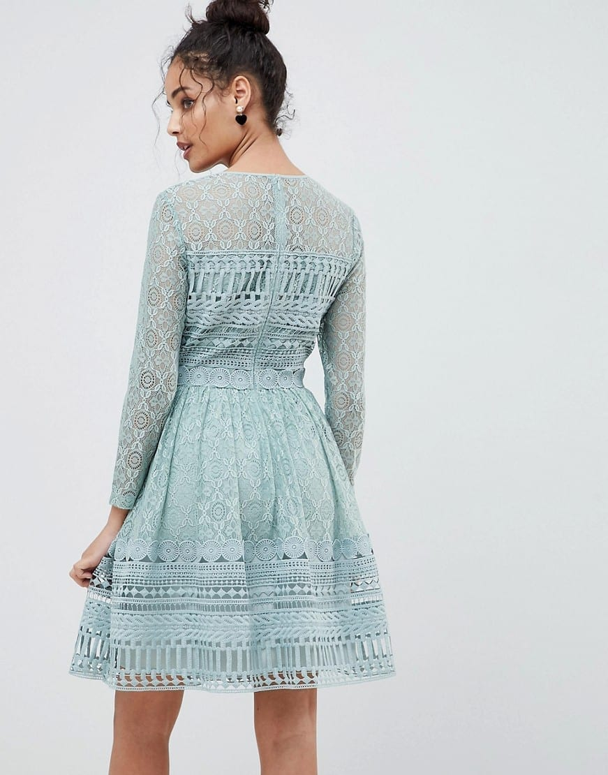 Asos Design Premium Lace Mini Skater Mint Green Dress