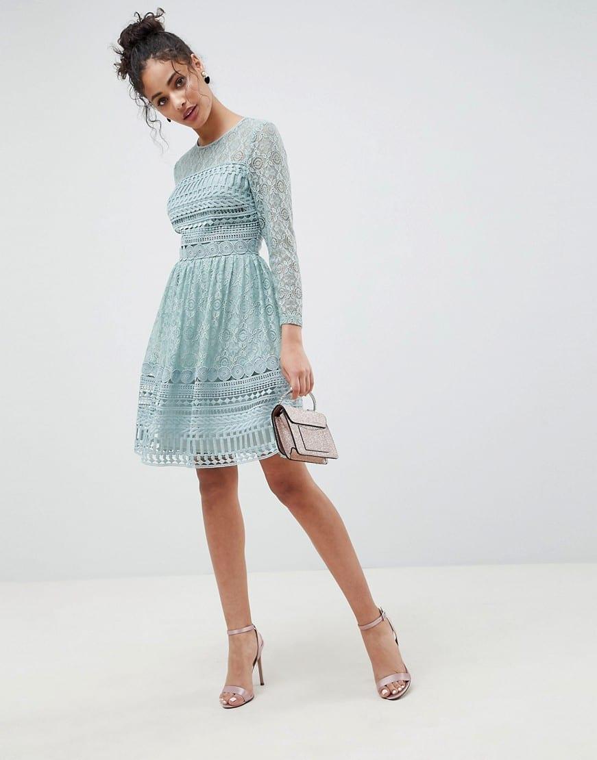 13f035a4932 ASOS DESIGN Premium Lace Mini Skater Mint Green Dress - We Select ...