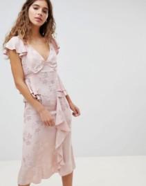 ASOS DESIGN Ruffle Hem With Soft Floral Jacquard Midi Tea Pink Dress