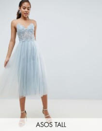 ASOS DESIGN Tall premium lace cami top tulle midi Grey / Blue dress