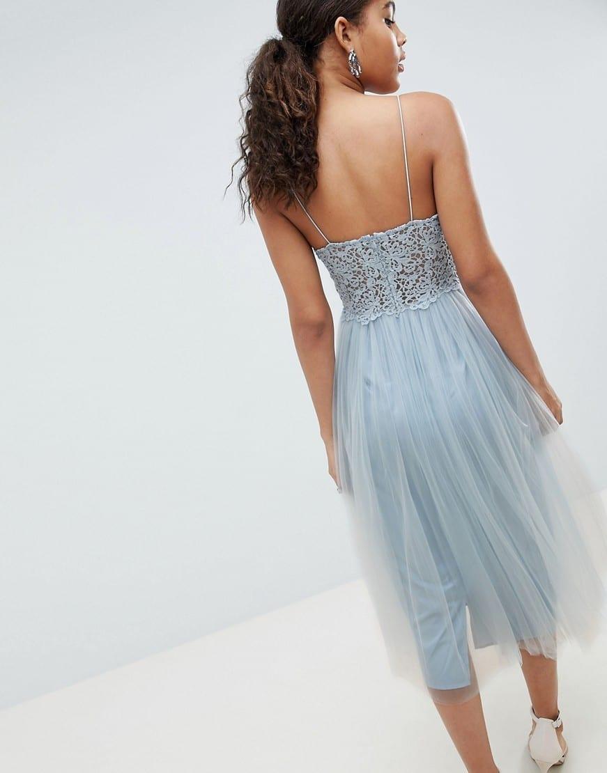 a5c21f864 ASOS DESIGN Tall premium lace cami top tulle midi Grey / Blue dress ...