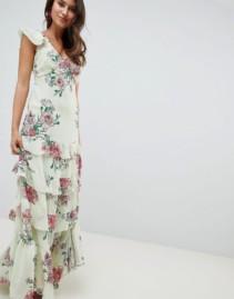 ASOS DESIGN Tiered Ruffle Maxi Floral Print Dress