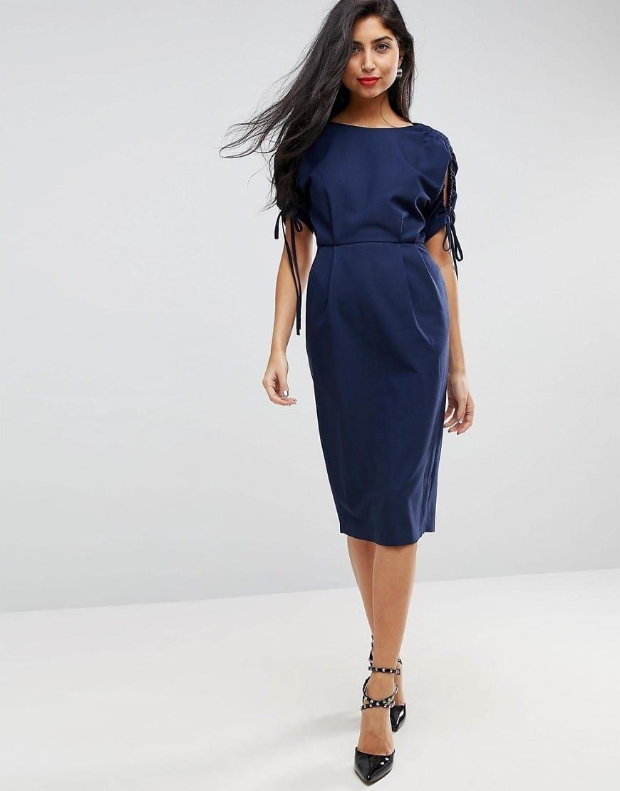 ASOS Split Sleeve Midi Pencil Navy Dress