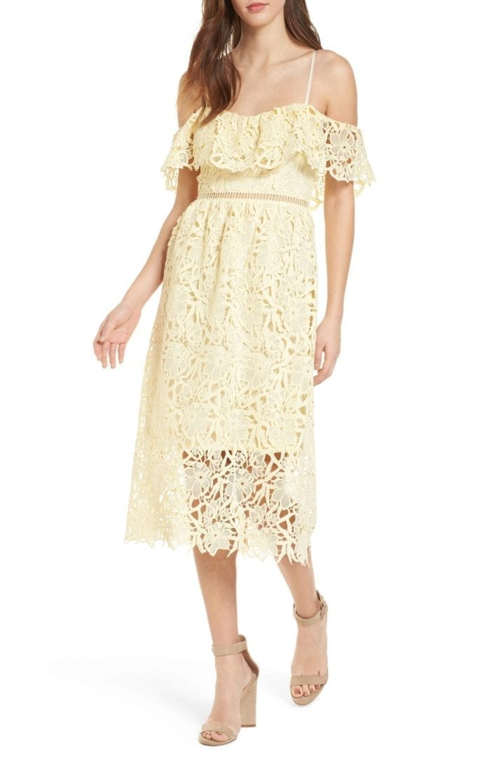 ASTR THE LABEL Lace Off the Shoulder Midi Yellow Dress