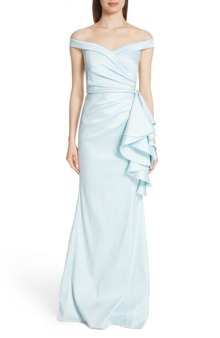BADGLEY MISCHKA Couture Off the Shoulder Ruffle Detail Blue Gown