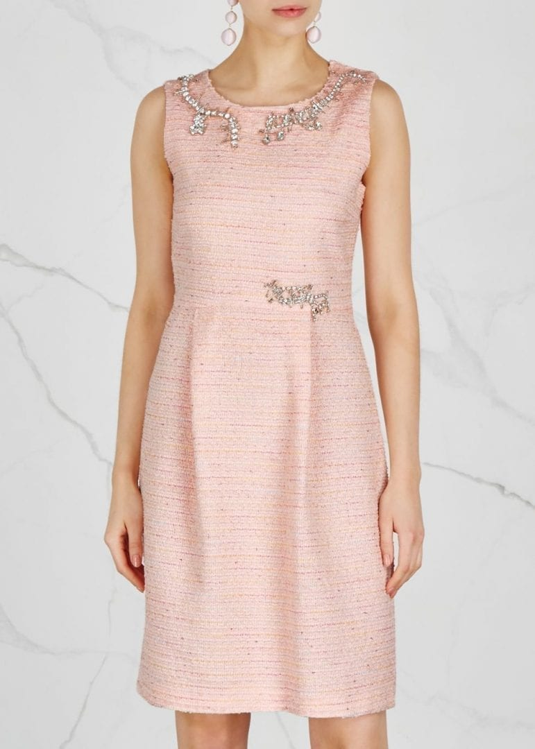 BOUTIQUE MOSCHINO Crystal Embellished Tweed Shift Light Pink Dress
