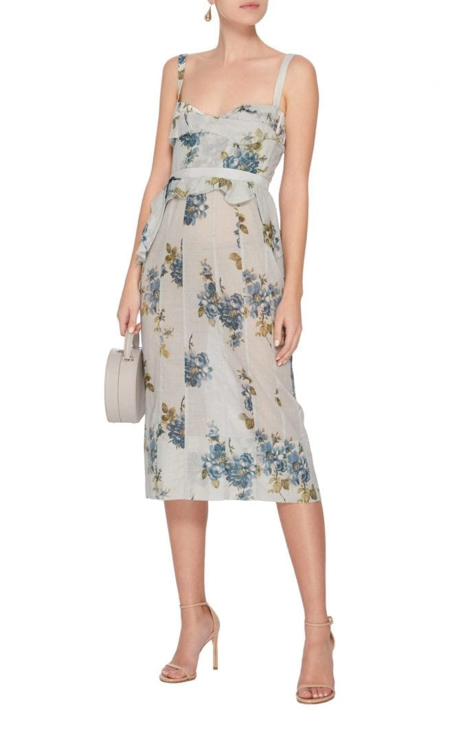 BROCK COLLECTION Dailey Cotton Midi Blue / Floral Print Dress