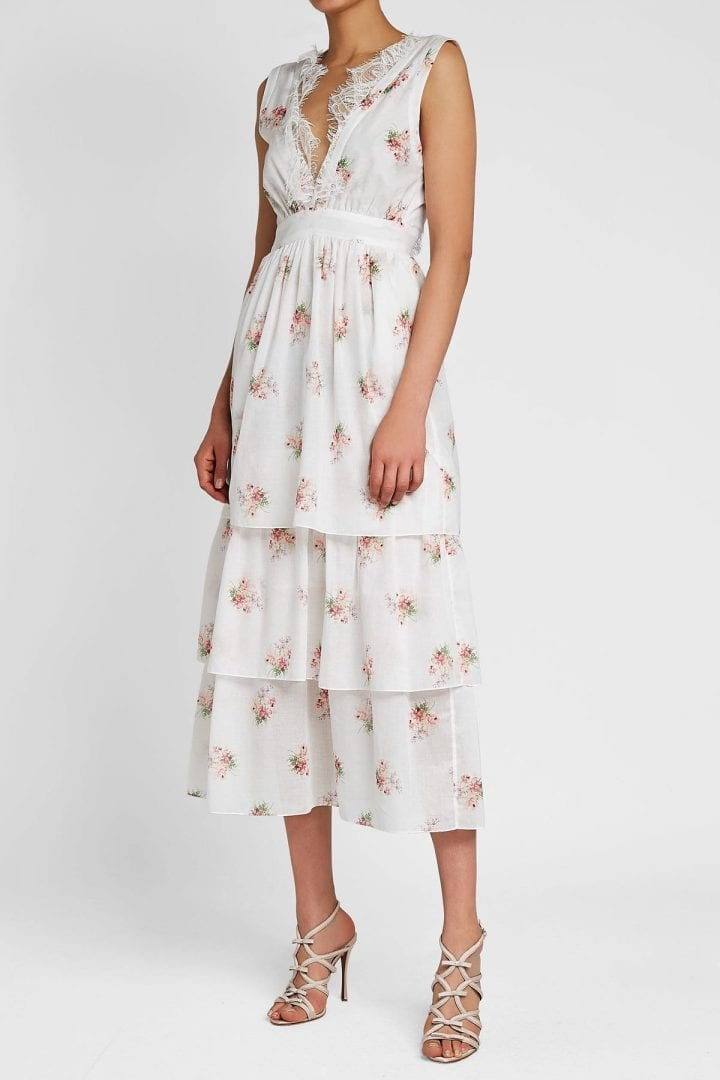 BROCK COLLECTION Dale Cotton White Floral Printed Dress