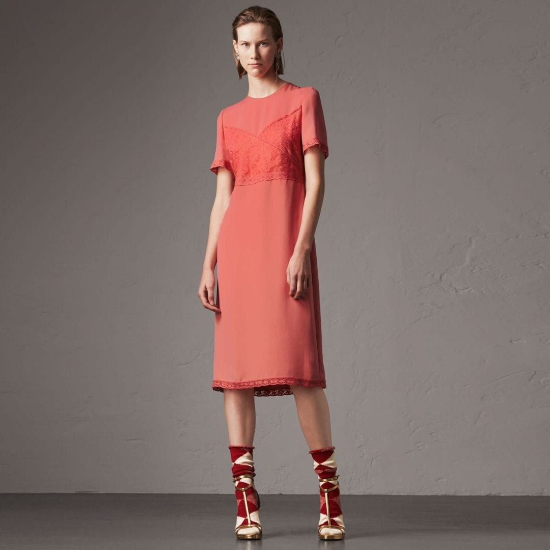 BURBERRY Chantilly Lace Detail Silk Crepe Marocain Coral Red Dress