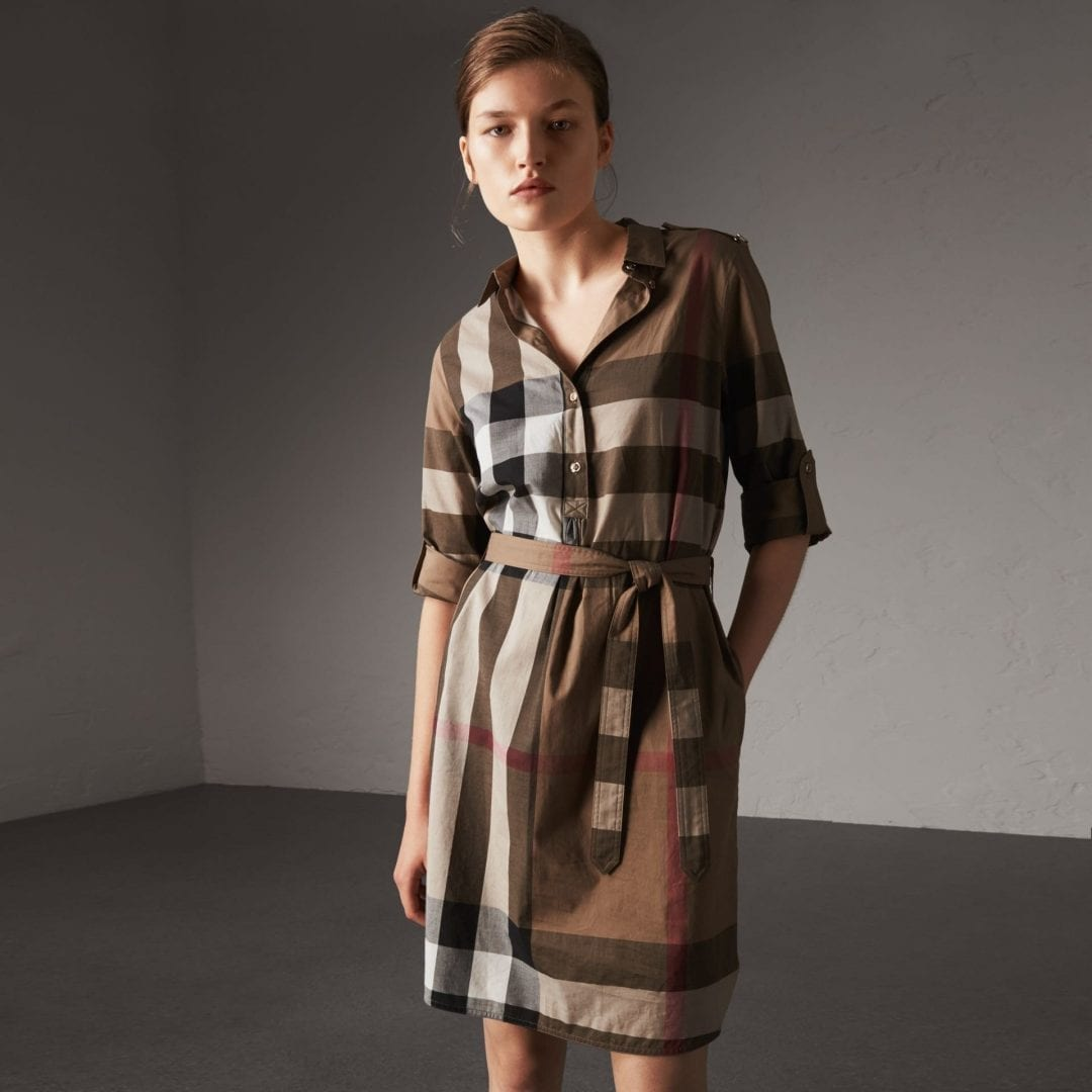 BURBERRY Check Cotton Shirt Taupe Brown Dress