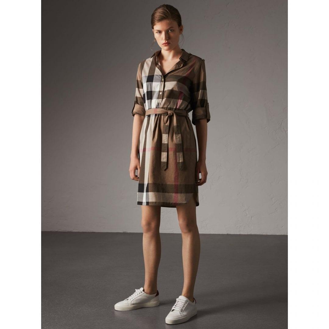 Burberry Check Cotton Shirt Taupe Brown Dress We Select Dresses