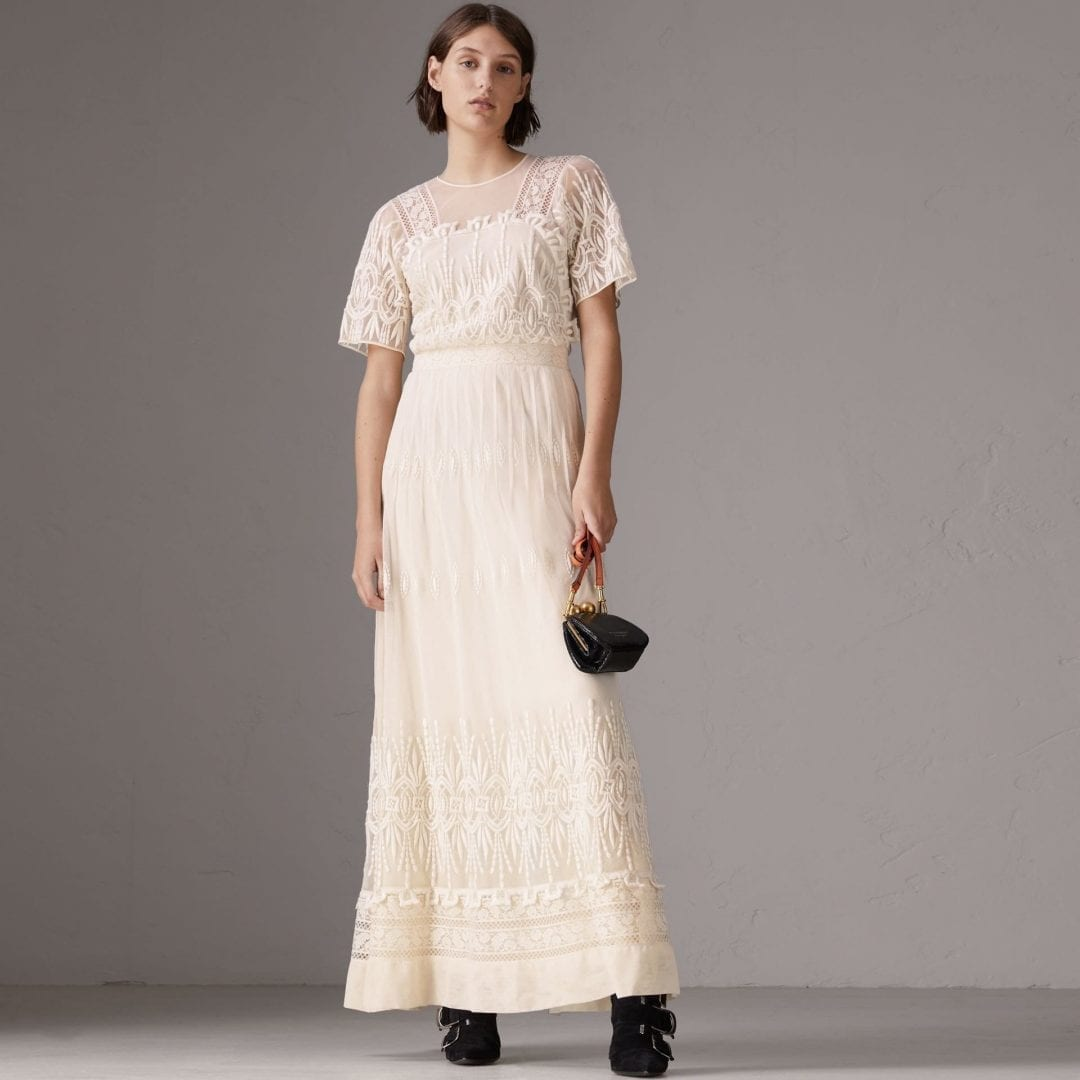 BURBERRY Embroidered Tulle Natural White Dress