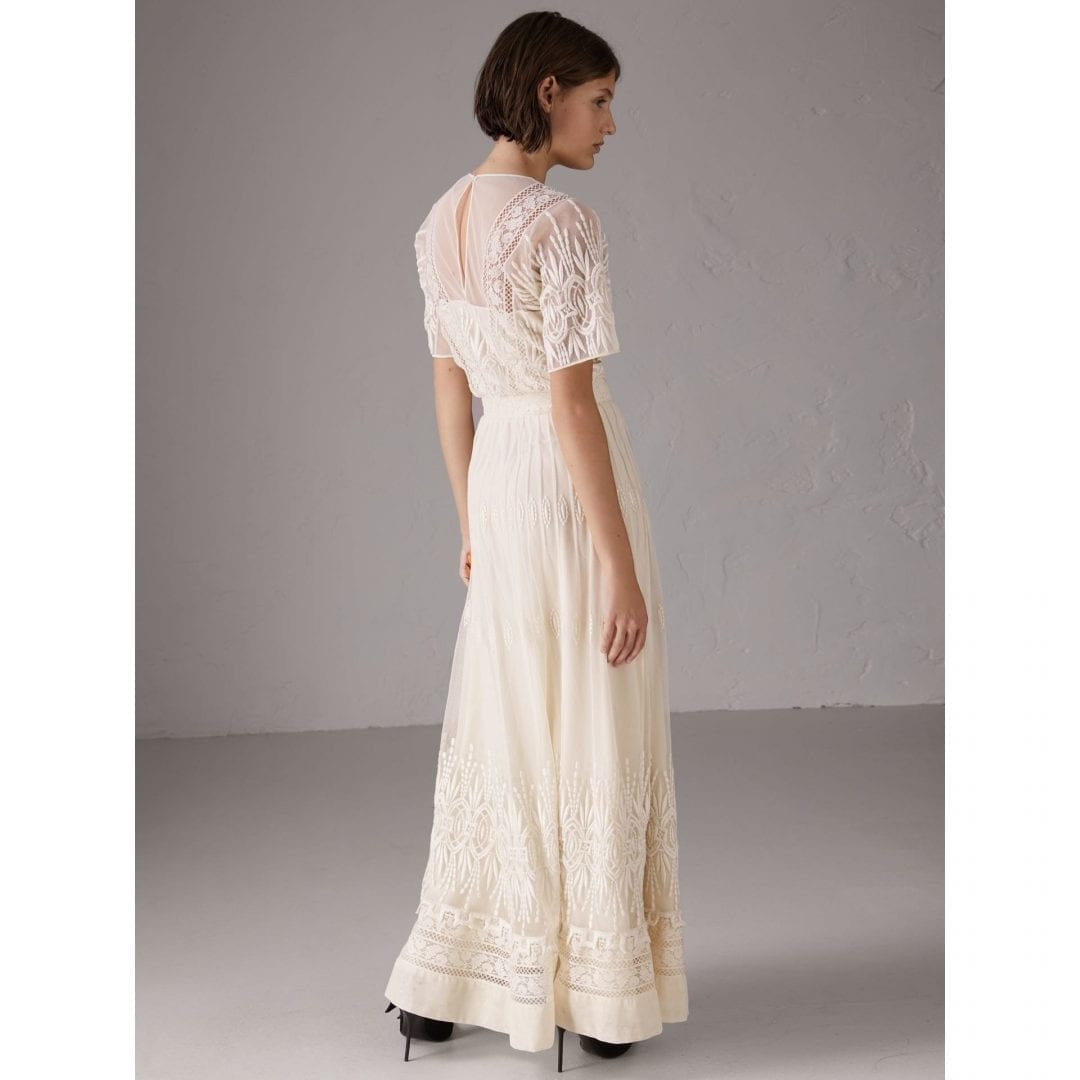BURBERRY Embroidered Tulle Natural White Dress - We Select Dresses