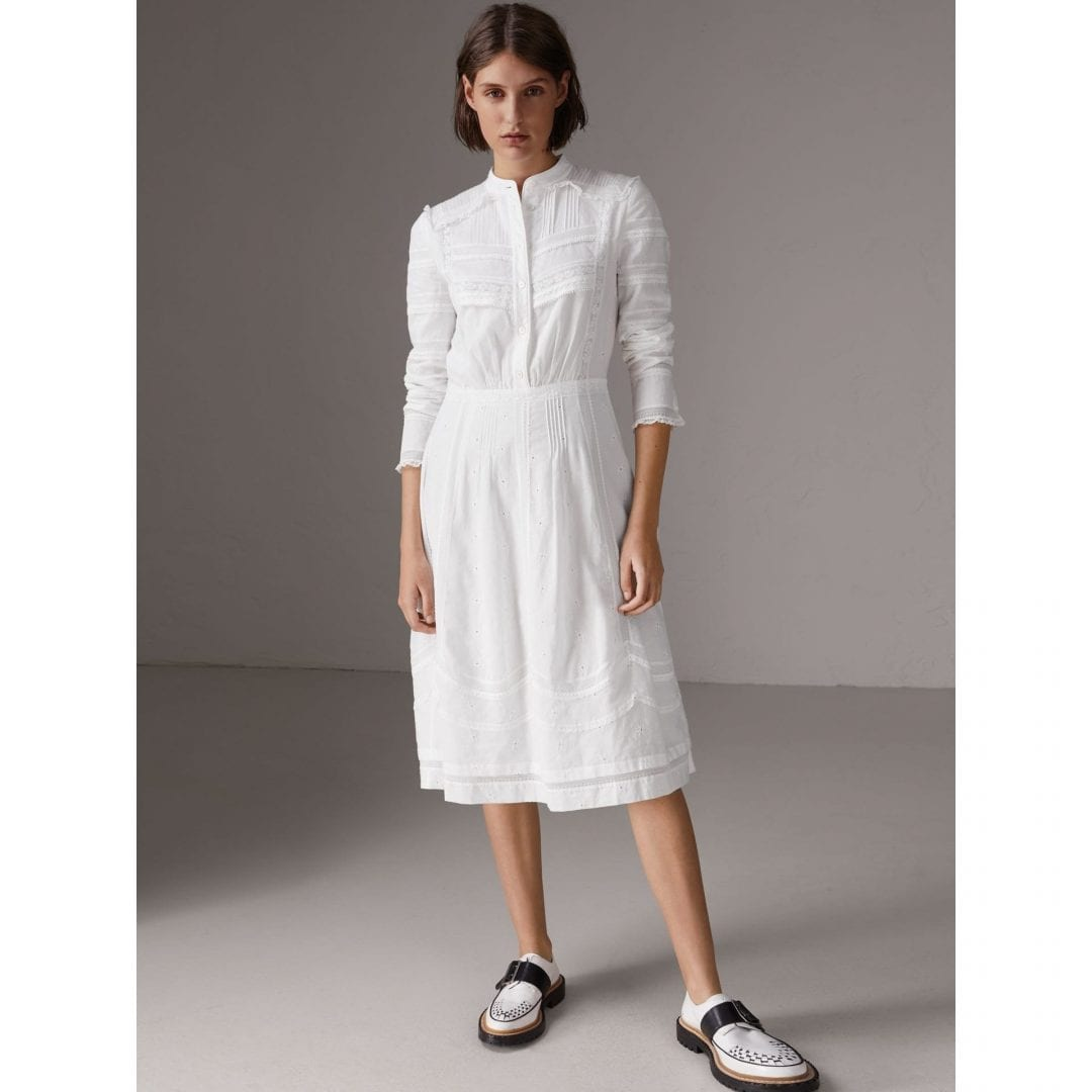 BURBERRY English Lace Detail Cotton Voile Shirt Off White Dress