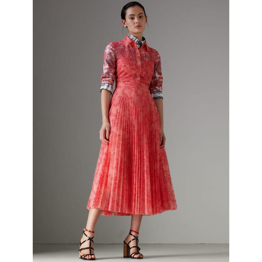 94bf04a60b2 BURBERRY Pleated Lace Pale Apricot / Coral Dress - We Select Dresses