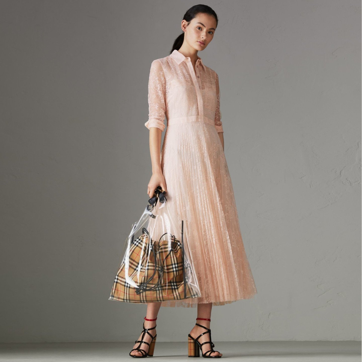 BURBERRY Pleated Lace Powder Pink Dress