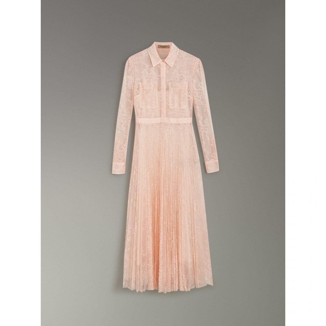 da8a198b233 BURBERRY Pleated Lace Powder Pink Dress - We Select Dresses