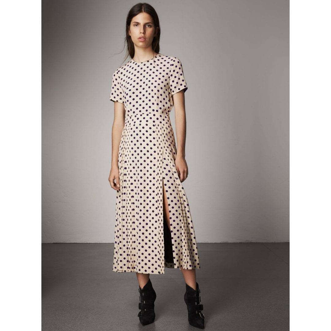 BURBERRY Polka-dot Silk Navy Dress