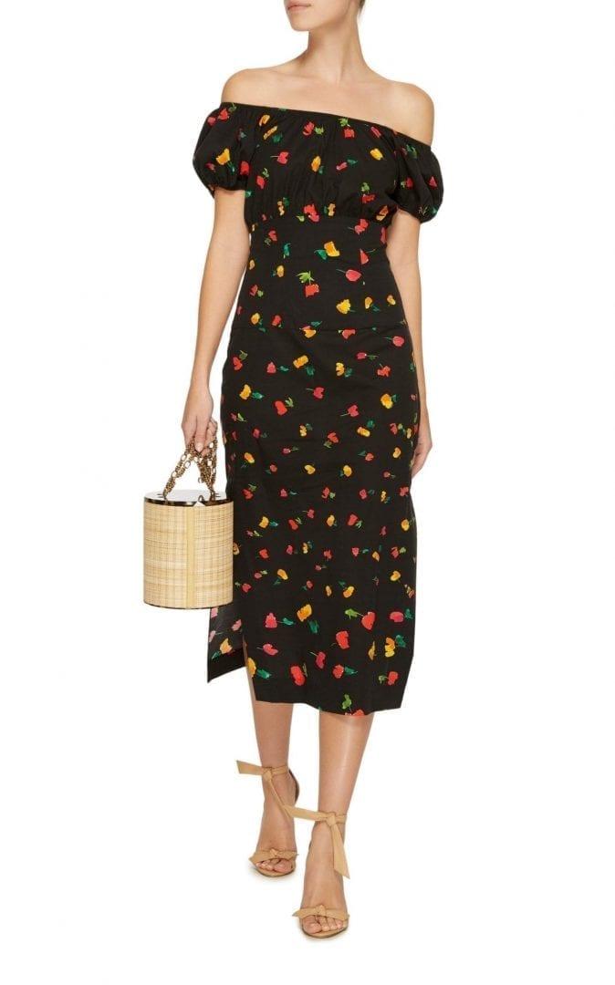 CAROLINE CONSTAS Calla Black / Floral Printed Dress