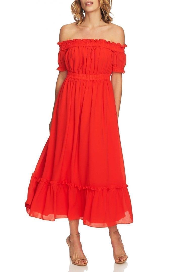 CECE Vivian Off the Shoulder Smocked Maxi Red Dress