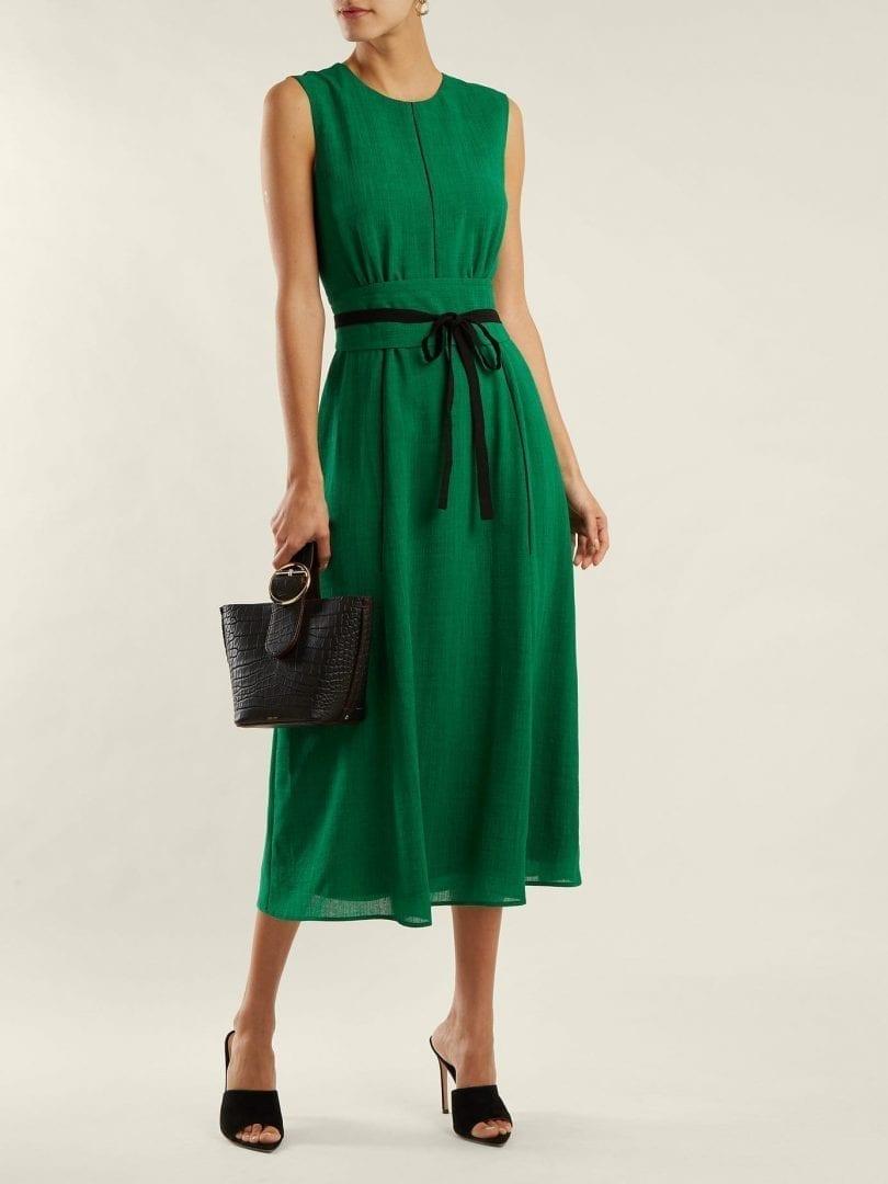 CEFINN Tie Waist Voile Midi Green Dress