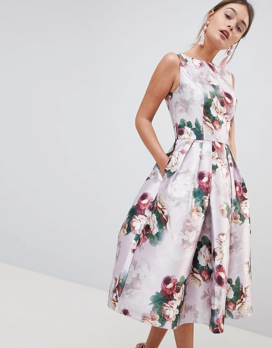 CHI CHI LONDON Midi Pink / Floral Printed Dress
