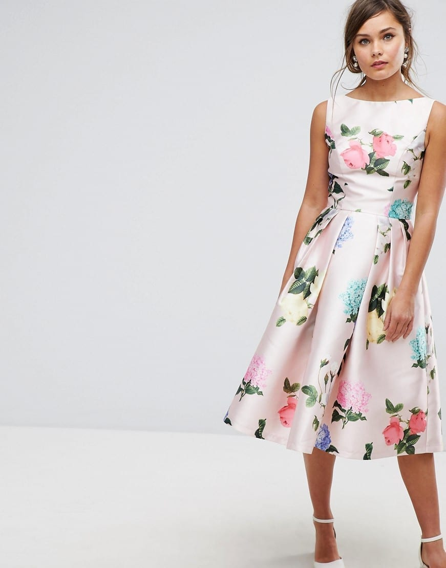 2194a663202 CHI CHI LONDON Satin Midi Prom Multi   Floral Printed Dress - We ...
