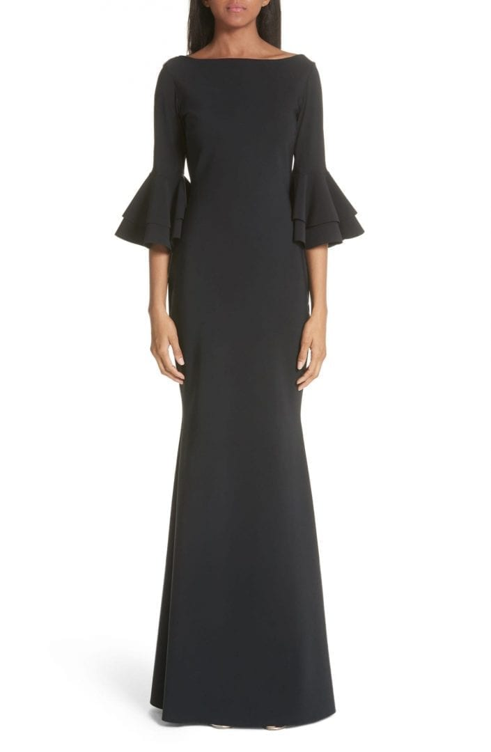 CHIARA BONI LA PETITE ROBE Iva Ruffle Bell Sleeve Black Gown - We ...