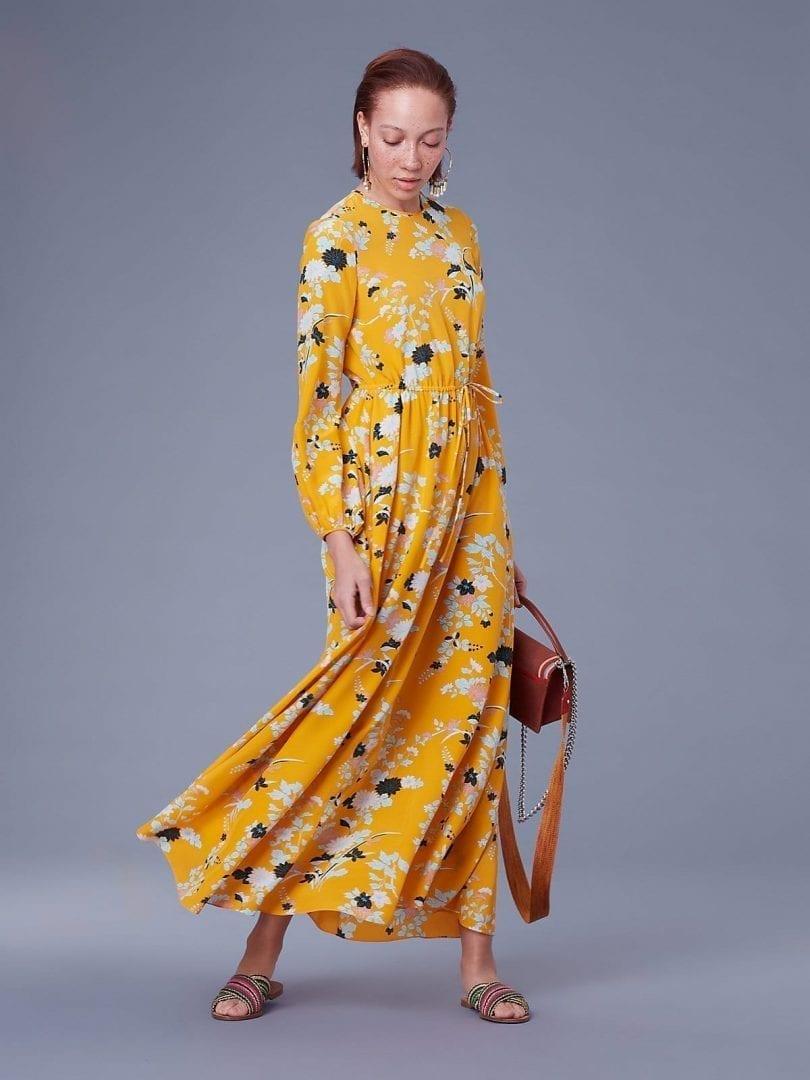 Diane Von Furstenberg Crew Neck Floor Length Walden Marigold Dress