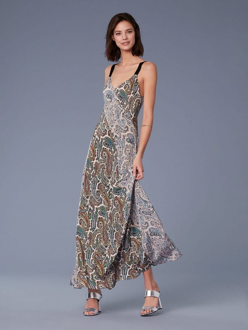 Diane Von Furstenberg Paneled Maxi Multicolored Dress