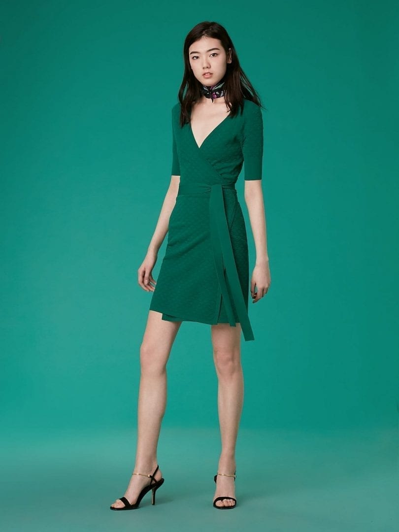 5c8d089d38 DIANE VON FURSTENBERG Short-Sleeve Sweater Wrap Pine Dress - We ...