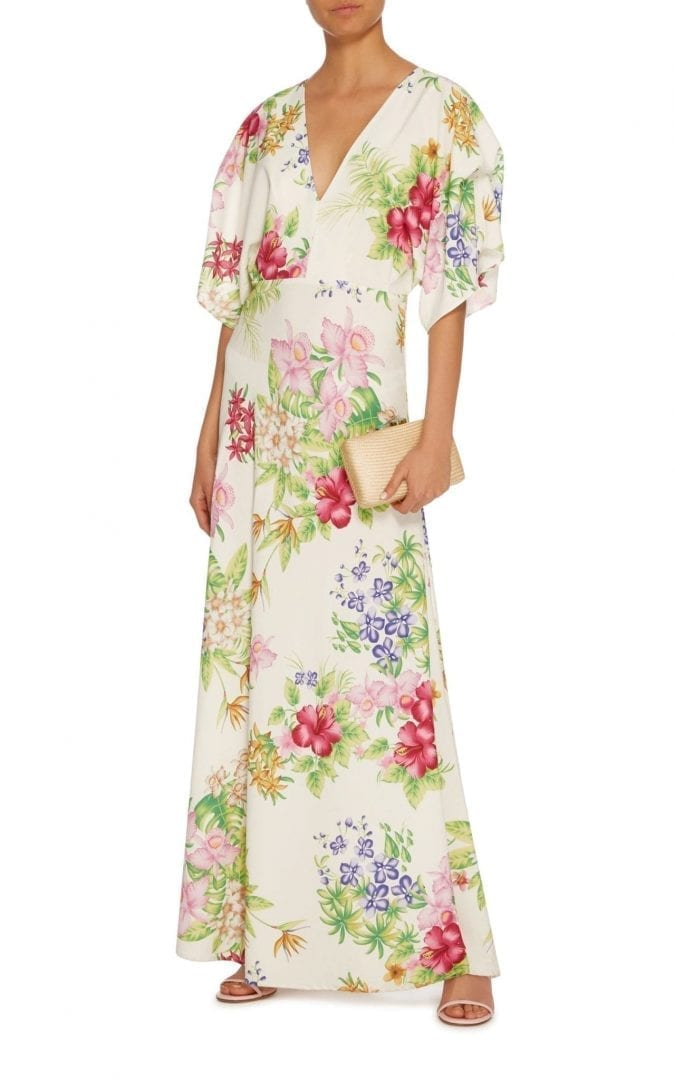 cc50886f112 DODO BAR OR Beverly Kimono Sleeve Maxi White   Floral Printed Dress ...