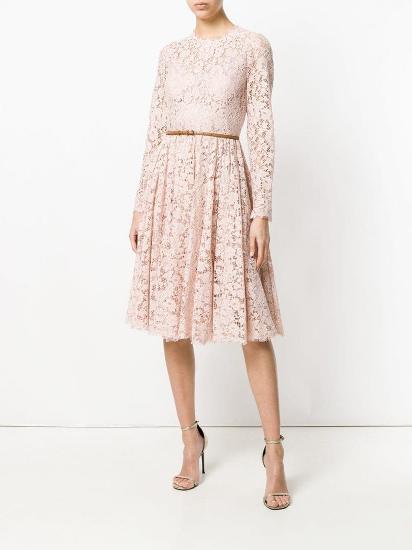 DOLCE & GABBANA Lace Skater Pink Dress