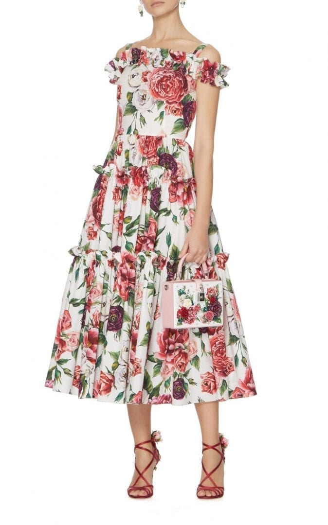 b7e88179 DOLCE & GABBANA Off-The-Shoulder Peony-Print Midi Floral Dress - We ...
