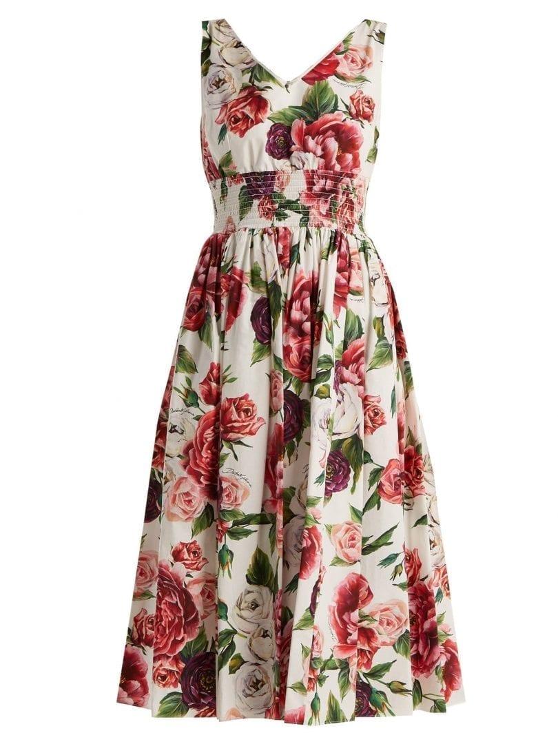 d206c6df9effb DOLCE   GABBANA Rose And Peony-print Cotton Poplin White Dress - We ...