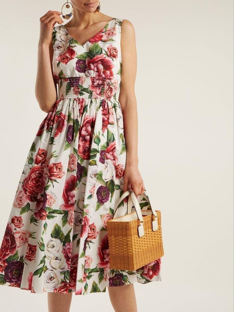 fb2df255 DOLCE & GABBANA Rose And Peony-print Cotton Poplin White Dress - We ...
