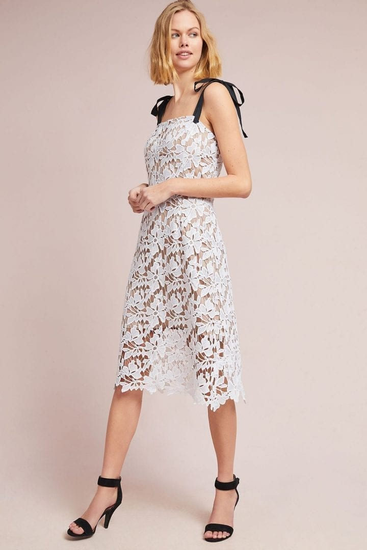DONNA MORGAN Uptown Lace Column White Dress