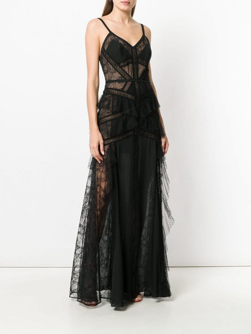 Elie Saab Lace Panel Tiered Black Gown