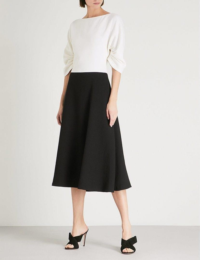 EMILIA WICKSTEAD Blueberry Puffed Sleeve Wool Crepe Black / Cream Dress
