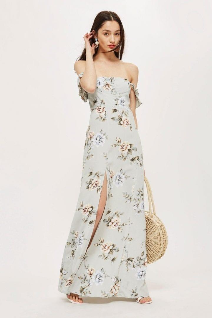 FLYNN SKYE Bardot Maxi Sage / Floral Print Dress
