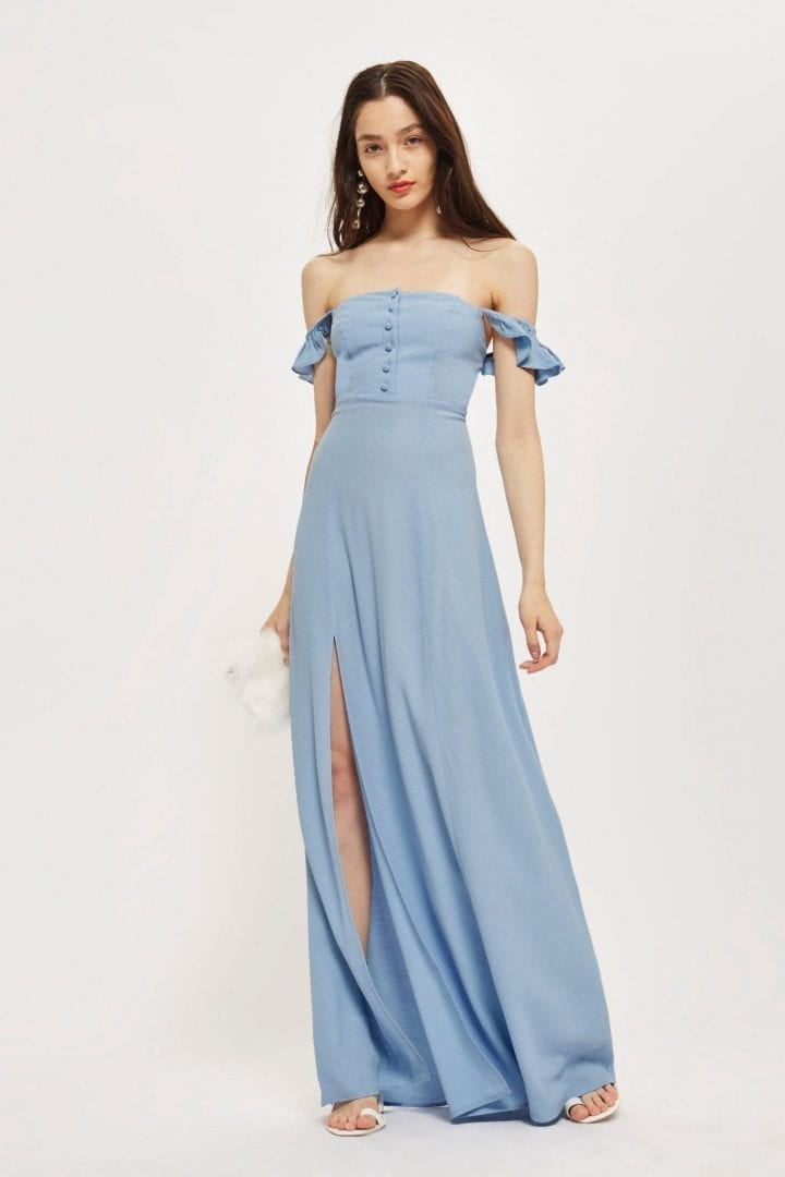 FLYNN SKYE Button Maxi Blue Dress