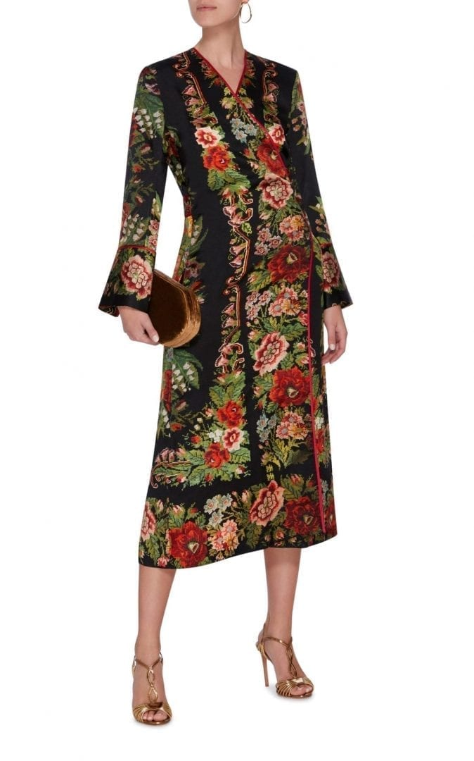 FOR RESTLESS SLEEPERS Dolos Wrap Floral Printed Dress