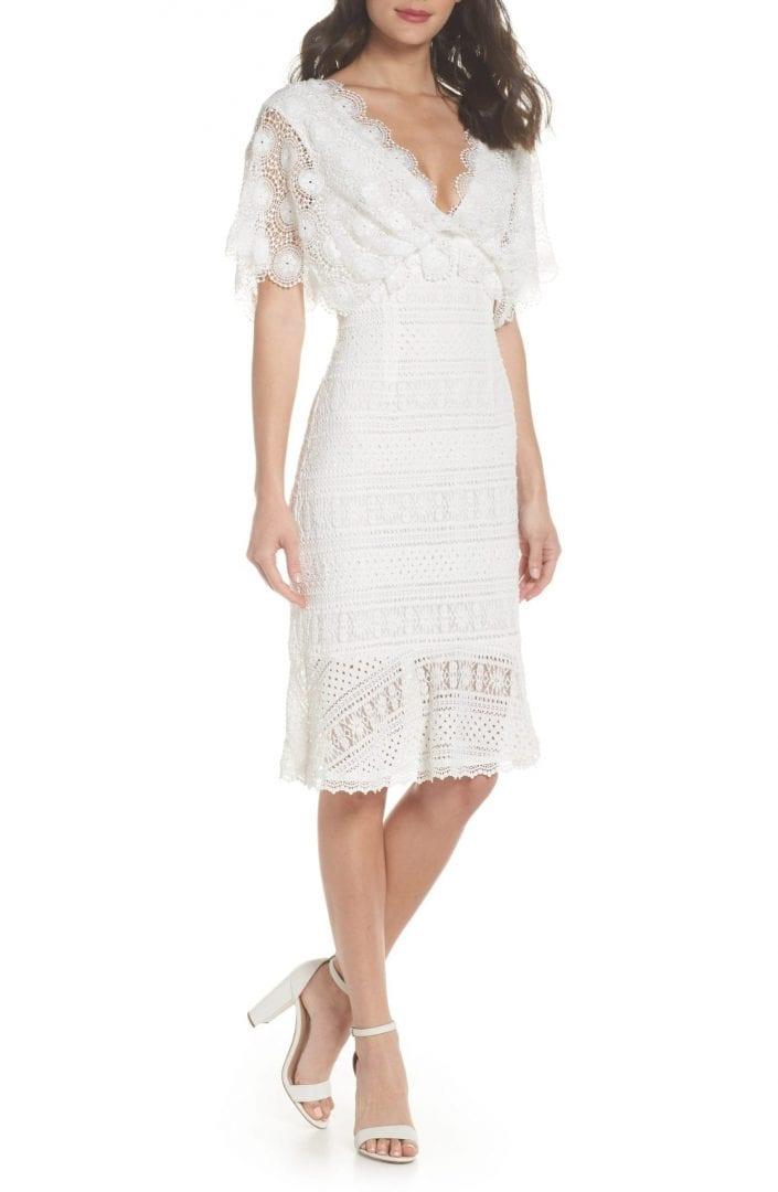 FOXIEDOX Mavis Scalloped Lace Off White Dress