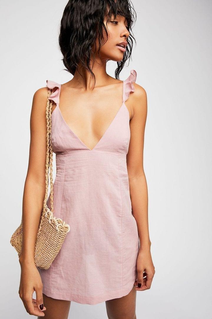 FREEPEOPLE Josie Mini Cherry Taupe Dress